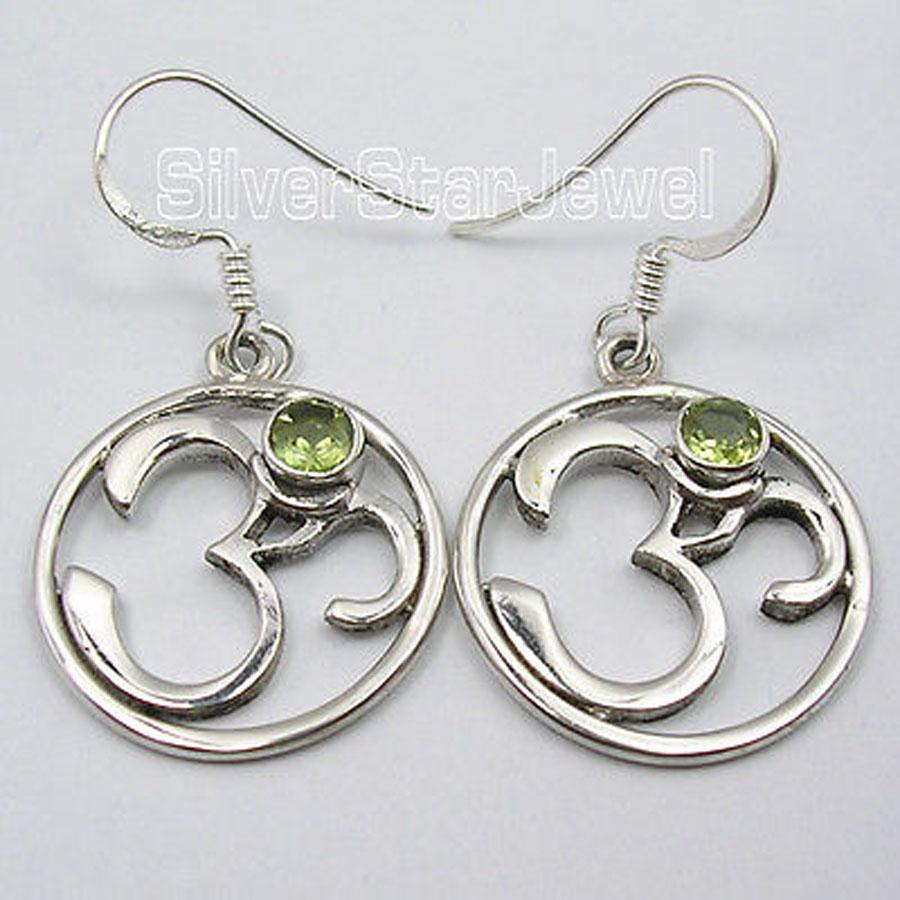 Silver Amazing PERIDOT Lovely OHM OM Earrings 3.7 CM UNISEX JEWELRY