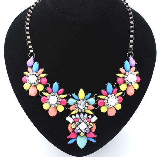 Jewelry 2014 New Design 3Colors Fashion Women Color Crystal Statement Collar Necklace jc Necklaces & Pendants - Star WorLd LTD store