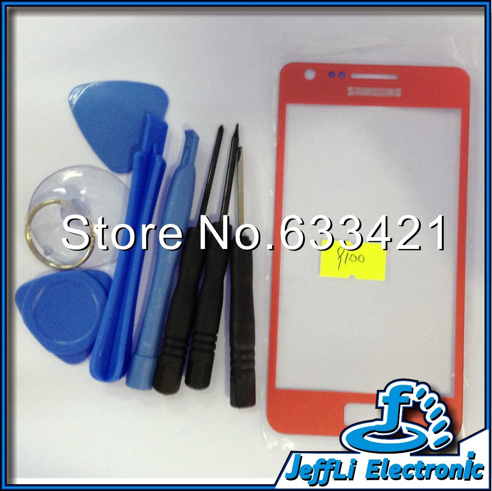 20Pcs/Lot Original Digitizer LCD Touch Screen Replacement Top Glass Red For Samsung Galaxy S2 i9100 9100+Tools+Free Shipping