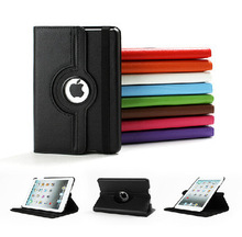 Top Quality ! 360 Rotating Leather Stand Flip Case For Apple Ipad mini & mini 2 & mini 3 Cover Free Shipping(China (Mainland))