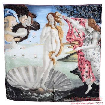 "100% Silk Scarf Hijab Scarves Designer Scarfs Square Sandro Botticelli's Art Painting ""Birth of Venus"" 1486 Brand Womens Scarves"