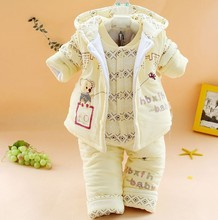 New 2015 newborn baby boys and girls clothing set the winter clothes for infant padded Bodysuits 3 pcs set warm outerwear