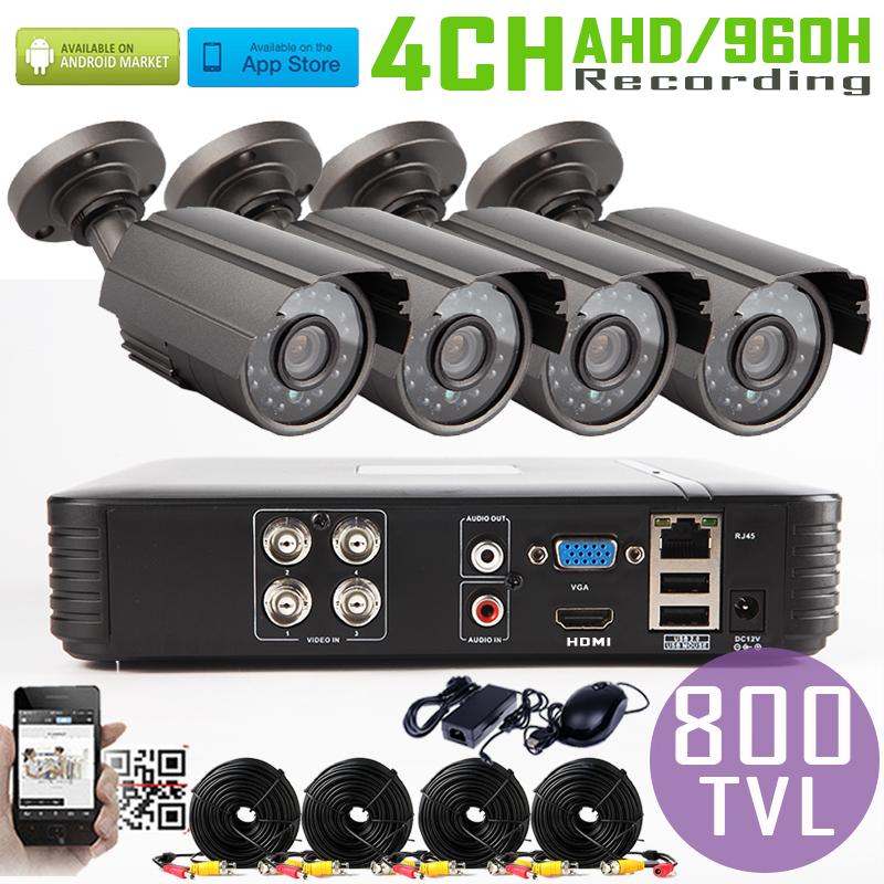 4CH 960H Mini AHD DVR System 4pcs CMOS 800TVL outdoor Warterproof Night Vision IR Camera with IR-Cut DIY economical cctv system
