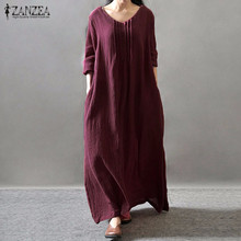 Buy ZANZEA Women Elegant Dress 2017 Spring V Neck Long Sleeve Floor-length Casual Loose Solid Retro Maxi Long Vestidos Plus Size for $13.78 in AliExpress store