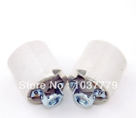 10pcs/lot Pottery and Porcelain White E27 fitting lamp holder(China (Mainland))