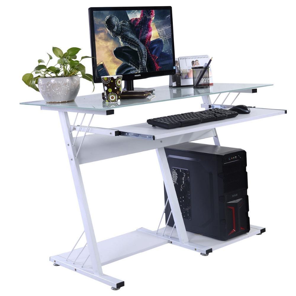 Modern Computer Desk Table Office Furniture Keyboard Shelf