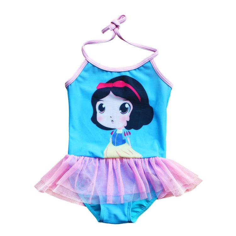 2014 new free shipping girls swimsuit Siamese Princess design cartoon swimsuit + send children swimming cap(China (Mainland))