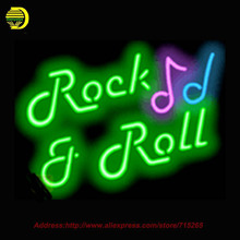 2016 Hot Neon Sign Rock & Roll Glass Tube One Neon Signs Handcrafted Free Custom Recreation Room Iconic Sign personalized 24x18(China (Mainland))