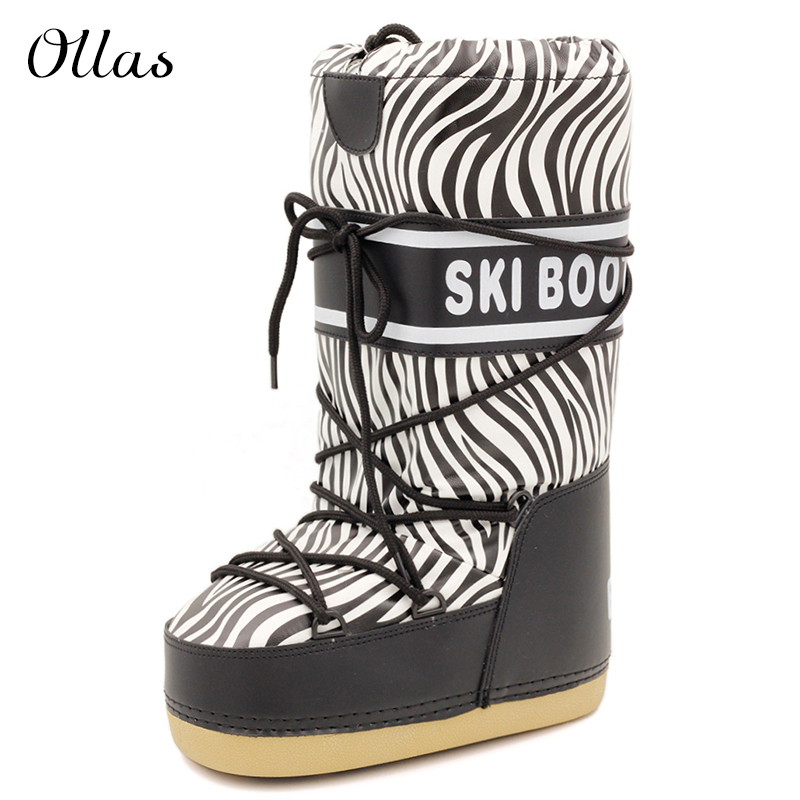 Zebra moon boots winter shoes woman snow boots platform women winter boots brand high boots free shipping(China (Mainland))