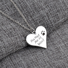 """2016 New Arrival Fashion Letter Necklace """"You had me at woof"""" Necklace Pet Lover Dog Paw Print Tag Silver Pendant Necklace(China (Mainland))"""
