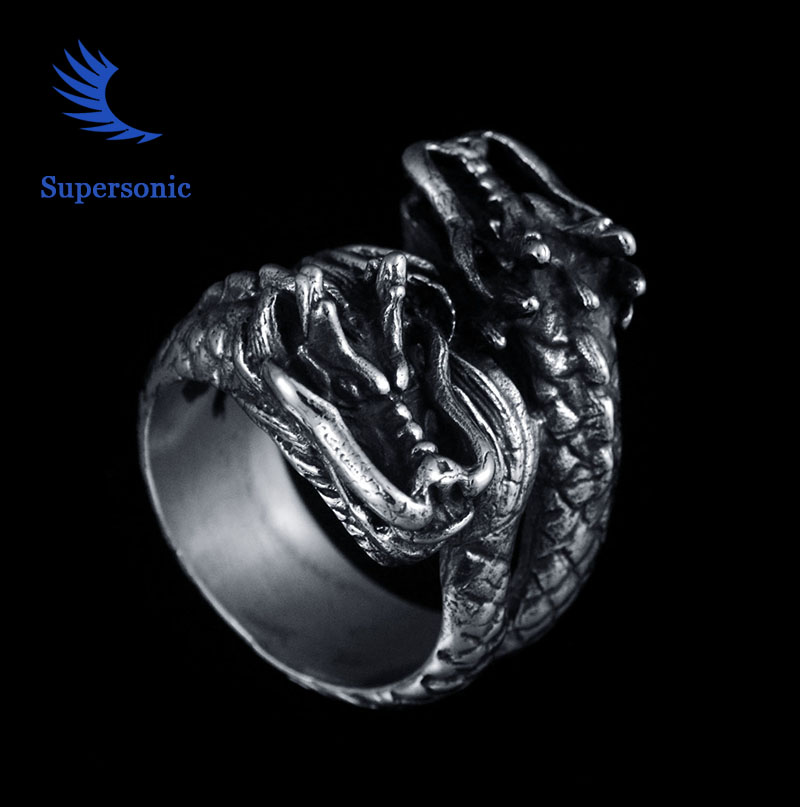 Double Dragon Head Stainless Steel Ring Vintage Punk Rock
