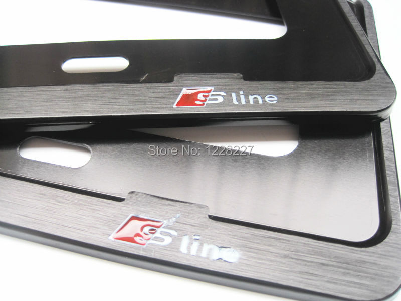 "Chrome Metal License Plate Frame - 18.2""*6.7"" 1 Pair Fit For Audi Sline Black Silver(China (Mainland))"