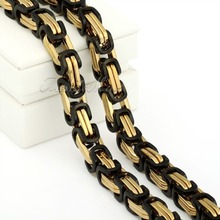 4 5 8mm Mens Chain Boys Necklace Black Gold Tone Stainless Steel Necklace Byzantine Box Wholesale