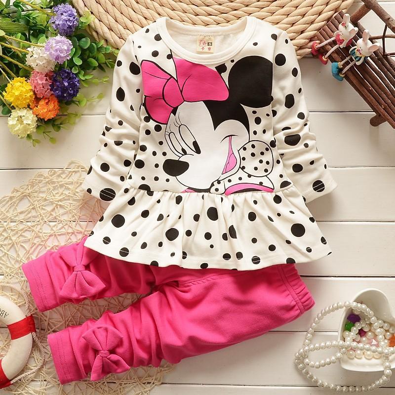 Children Girls Clothing Sets Minnie Mouse Suits Outwear&Sleepwear Long Sleeve Polka Dot Shirt +Leggings Cartoon Pajamas Sets(China (Mainland))