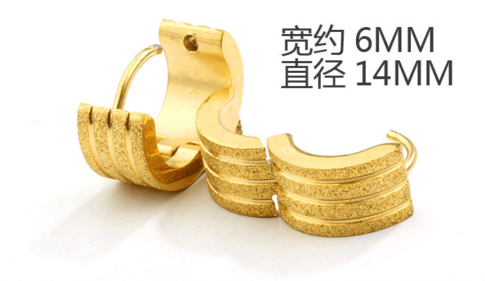 Free shipping 316L Stainless Steel hip hop earrings fashion golden sand men's jewelry wholesale Hoop Earrings(China (Mainland))