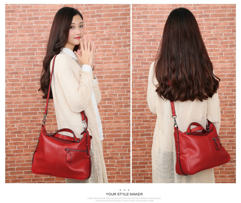 Japan And Korean Style Pillow-shaped Casual Hand Bag Ladies Black Red PU Shoulder Bag Luxury Gorgeous Women Leisure Handbag
