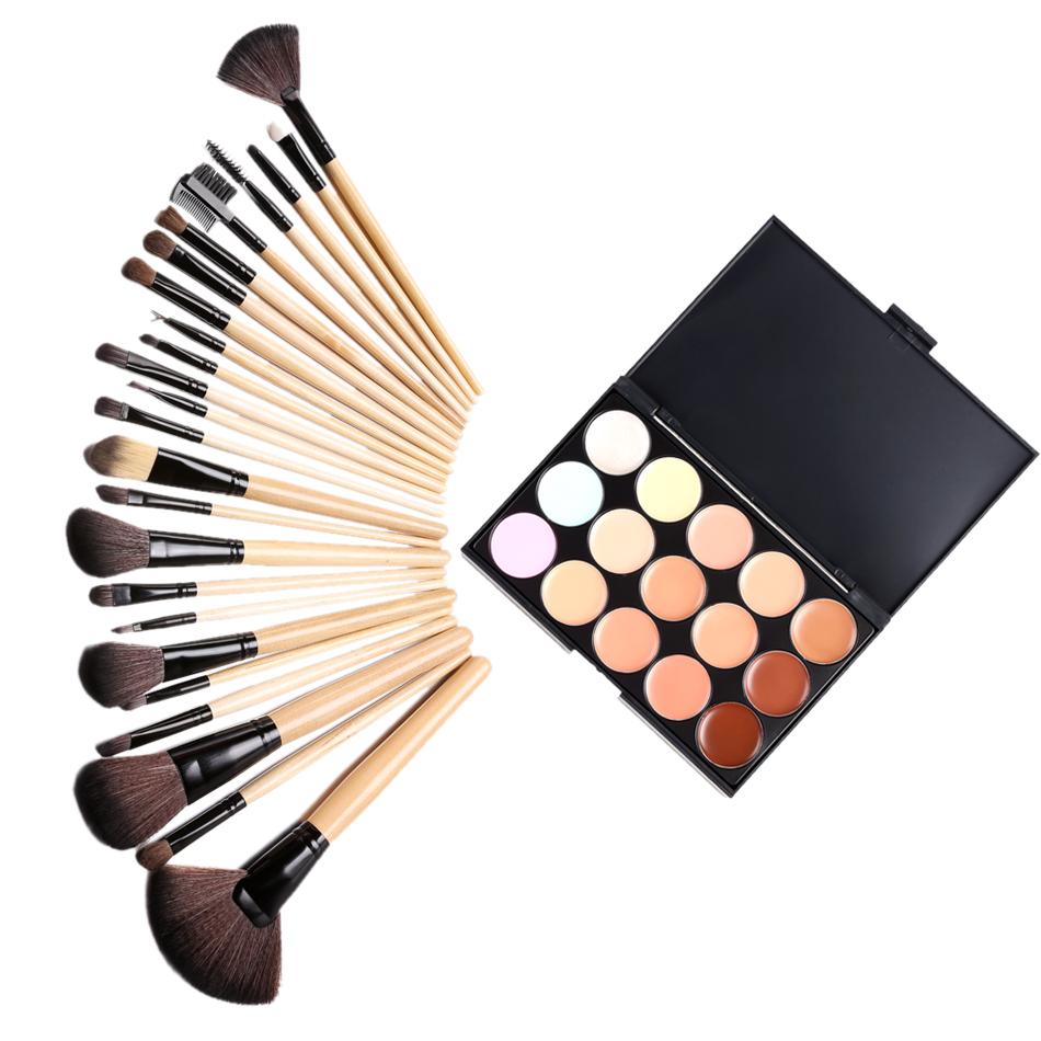 15 Color Concealer Palette + 24 pcs Wooden Handle Brush + 1 Leather Carrying Bag Puff Makeup Base Foundation Concealers Face %5k<br><br>Aliexpress