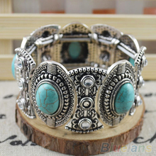 Classical Women's Retro Vintage Natural Turquoise Cute Tibet Silver Bracelet  1Q2K 4MJM(China (Mainland))
