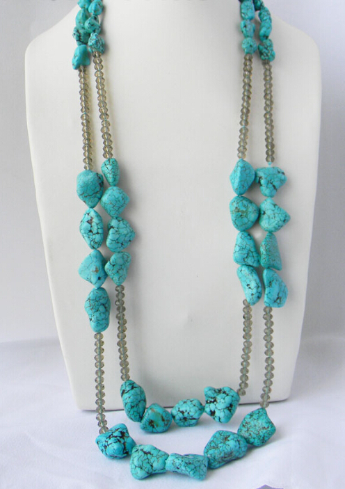 """2Strands 32"""" Baroque Freeform Turquoise Faceted Crystal Tower Necklace(China (Mainland))"""