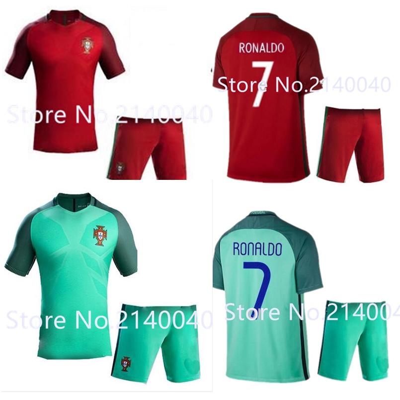 2016 topThailand quality EURO survetement football home away mens kit Portugals soccer jerseys 16 17 maillot de foot shirt short<br><br>Aliexpress