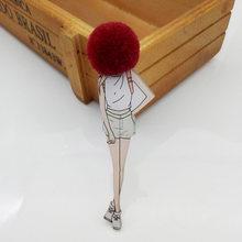 Spilli Brooch di modo per la Donna Spille Sveglio Delle Ragazze Del Fumetto Modelli di Acrilico Spille Kawaii Pompon Gioielli Accessori di Abbigliamento(China)