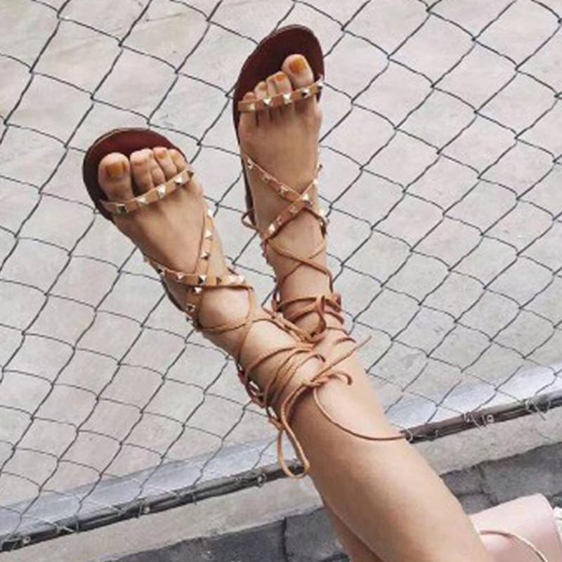 Mancuello Black / White Genuine Leather Gladiator Sandals Women Cross Strappy Flat Rope Sandals Rivets Lace Up Sandalias Mujer(China (Mainland))