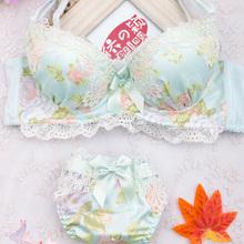 HOT! 2015 Japanese Fashion Chiffon Floral Adjustable Bra Set Sexy Lingerie Push Up Deep V Lace Underwear Set Women A B C Cup