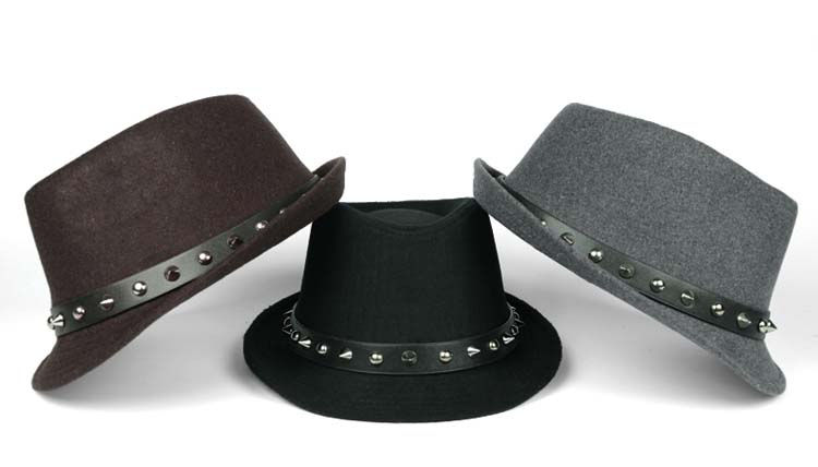 Men's Studded Skull Wool Cloche Unisex Fedora Trilby Felt Hat with the rivet band(China (Mainland))