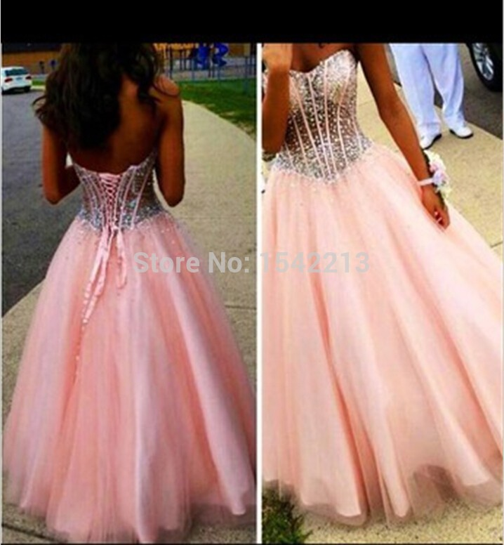 Luxury Beaded Long Pink Prom Dress Sexy Women Big Ball Gowns 2016 Tulle Party Evening Dresses Vestido De Festa robe de soiree(China (Mainland))