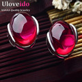 Uloveido Vintage Ruby Earrings For Women Green White Blue Opal Stones Earrings Brincos Ornamentation Pendiente Bijouterie