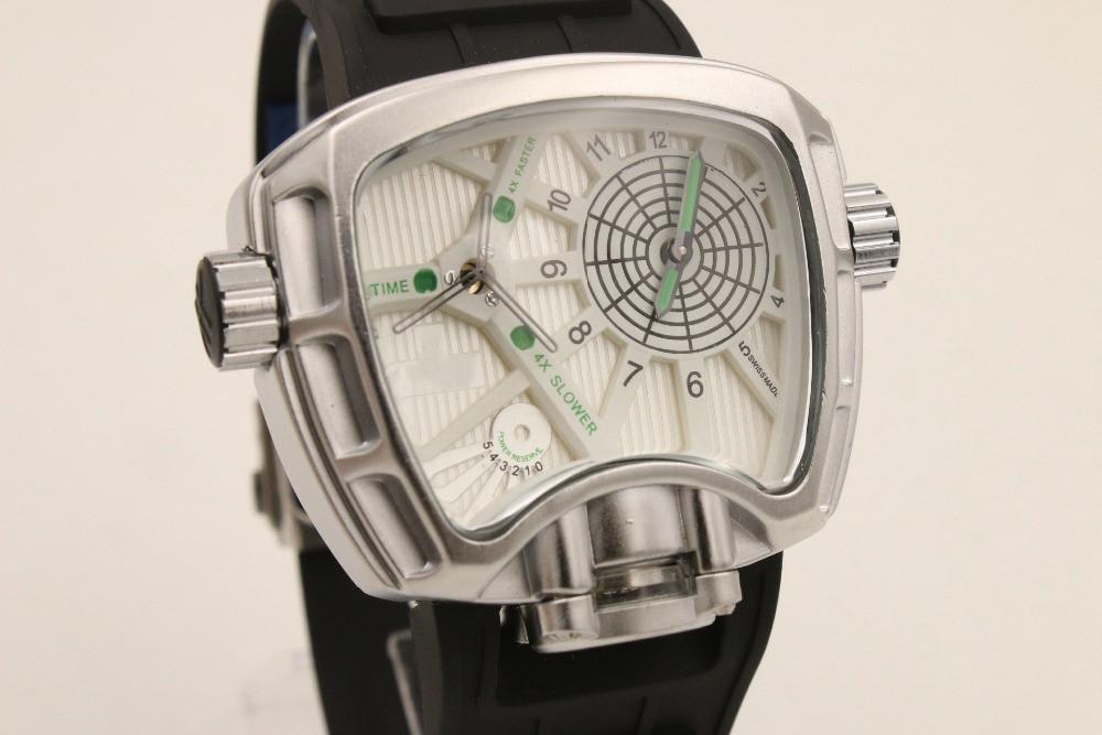 2015 Irregular mechanical clock dial luxury brand mechanical watches silicone wristbands leisure men's clothing bracelet 051(China (Mainland))