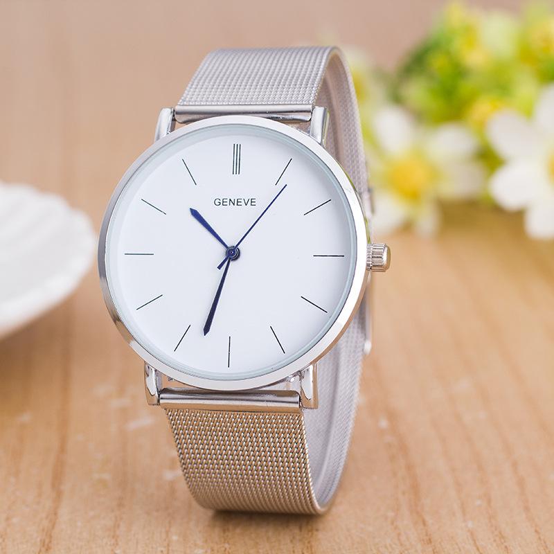 Luxury Brand Geneva Watch Fashion Stainless Steel Silver Watch Men Casual Quartz Watches Ultrathin WristWatches Relogio Feminino(China (Mainland))
