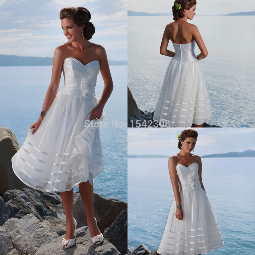 Free shippingmost popular white handmade flower a line for Short white summer wedding dresses