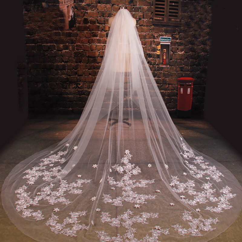 New arrive bride veil long length elegant lace beaded long for Long veil wedding dresses