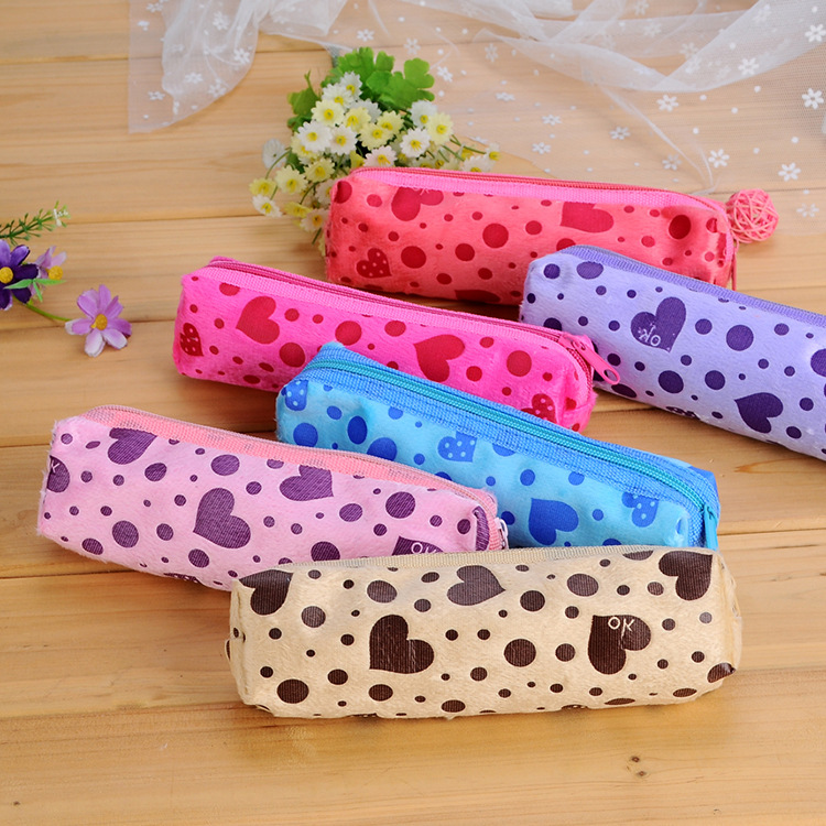 C06-3-14 Korea stationery candy-colored velvet love pencil pouch wholesale manufacturers students SQ