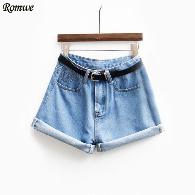 Romwe женщин марка новые весна короткая джинсы марка средний талия джинсовые синяя ...
