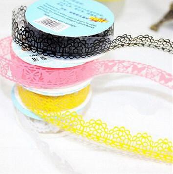 Bricolage dentelle décoration autocollant en plastique douce bande pour photo album Scrapbooking gros 5 peças/set(China (Mainland))
