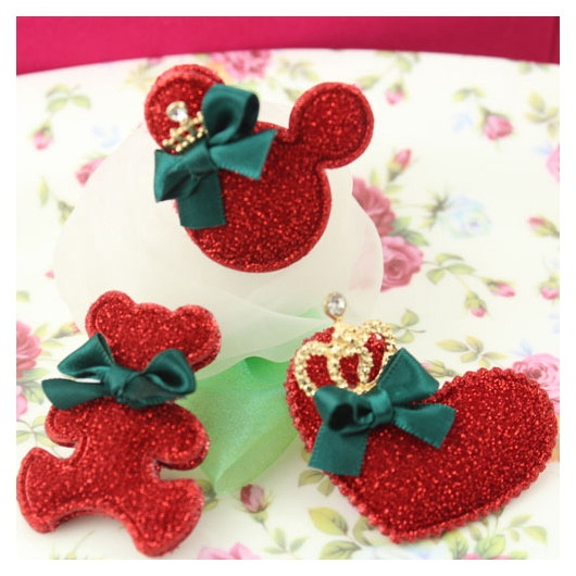 40pcs 6 Colors Glittered Crown Glitter Cartoon Brilliant Heart With Crown Kid Hair Accessory D0143S<br><br>Aliexpress