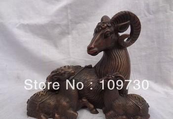 """bir 00693 8"""" Chinese Zodiac Pure Bronze JiXiang Fu Lu Shou 3 Sheep suns shine Statue"""