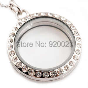M00020 with stainless steel chain 30x21mm metal Round charm locket pendant(China (Mainland))