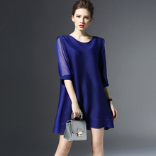2016 Fashion Women's Simple hedging Large size High elasticity fold solid color dress Spring Summer wild(China (Mainland))