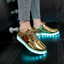 รองเท้าแตะ Led USB illuminated krasovki รองเท้าผ้าใบส่องสว่างเรืองแสงเด็กรอง(China)