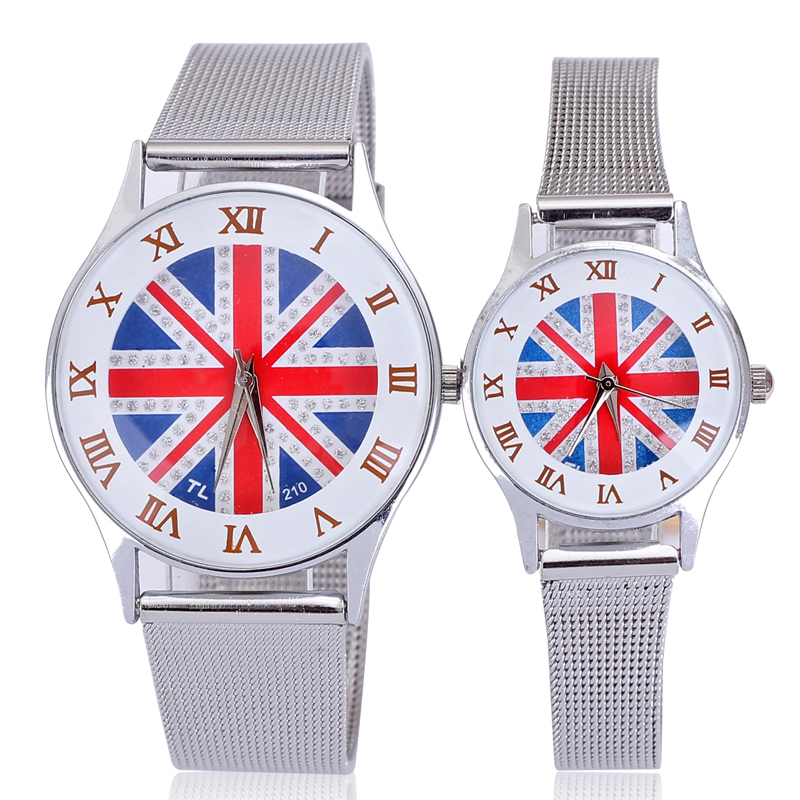 2015 New Arrival Loman Capitals White Fram Union Jack Net Belt Alloy Couples Watch Metal White and Black Watch Men Watches(China (Mainland))
