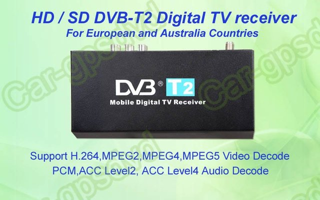 Free-shipping! Mobile Digital Car DVB-T2 H.264 MPEG4 HD Tuner Digital TV Receiver Box set top DVB-T2 (HD/SD), HDMI Car TV tuner