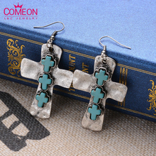 2015 New Design Trendy Vintage Retro Nation Bohemian Style Anti Silver/ Bronze Cross Turquoise Drop Earrings Jewelry For Women(China (Mainland))