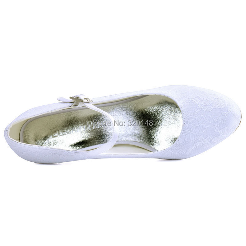 HTB1BntjPVXXXXbZXpXXq6xXFXXXm - Woman White Ivory Bridal Wedding Shoes Low Heels Mary Jane Comfort Rhinestones Buckle Lace lady bride Prom Party Pumps EP1085