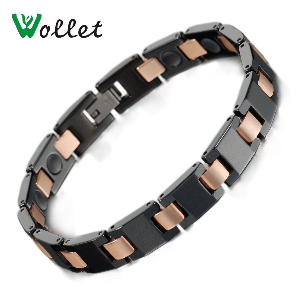 Wollet Jewelry Merry Christmas Gifts Gold Color Germanium Infrared Negative Ion Magnetic Black Ceramic Bracelet For Men(China (Mainland))