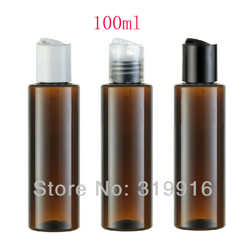 100ml brown color disc top cap plastic bottles containers for traveling ,3.5oz empty plastic liquid PET bottles for cosmetics<br><br>Aliexpress