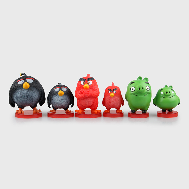 Animals toys The Red birds Green pig Action Figure PVC 8cm Model Kids Gift Cartoon Doll Free shipping T520(China (Mainland))