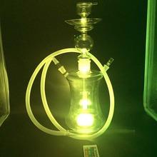 1 PC 1 Hose 55cm Hot Sale Largest Glass Hookah with LED Light Smooking Shisha LED